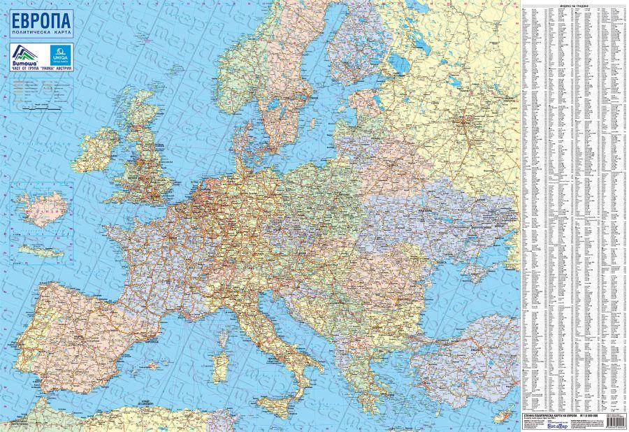 Karta 2019 Ptna Karta Na Evropa Razstoyanie V Kilometri