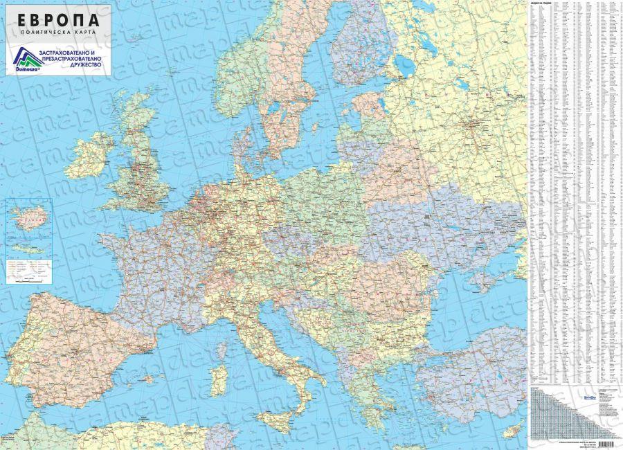 Karta Na Evropa Politicheska Knizharnici Hiron 2000 Uchebnici